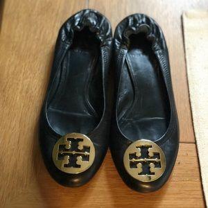 EUC Tory Burch Reva Ballet Flats - Black & Gold